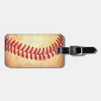 Vintage baseball ball tag for luggage