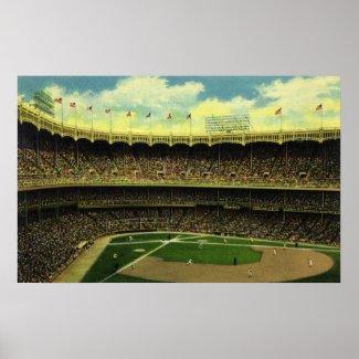 Vintage Baseball Stadium Poster