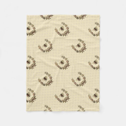 Vintage Bee Wreath Fleece Blanket