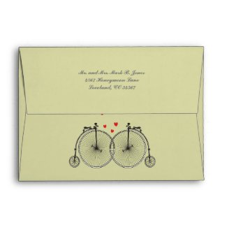 Vintage Bicycle Love Wedding Invitation Envelopes