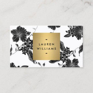 Vintage Black Floral Pattern Business Card