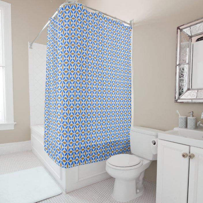 vintage blue brown barcelona petals geometric tile shower curtain zazzle com