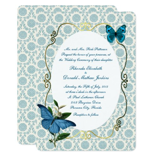 Vintage Blue Butterflies Wedding Invitation