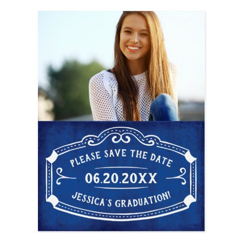 Vintage Blue Save The Date Graduation Photo Postcard