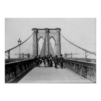 Vintage Brooklyn Bridge Crossing Photograph (1898) Print