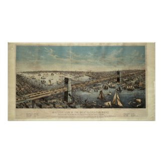 Vintage Brooklyn Bridge Illustration (1883) Print