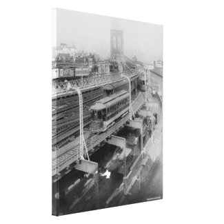Vintage Brooklyn Bridge Railway Photograph (1910) Canvas Print