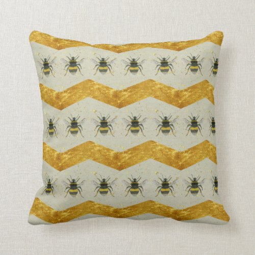 Vintage Bumblebee and Gold Chevron Cushion