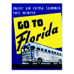Vintage Bus Coach Matchbook Go To Florida Postcard