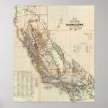 Vintage California & Nevada Historic Map USA Poster