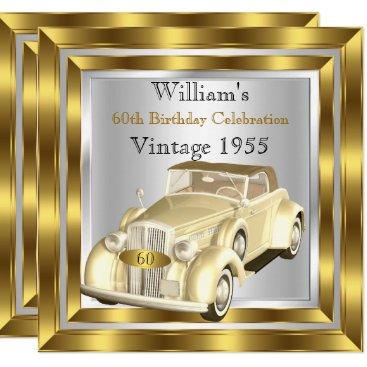 Vintage Car Men's 60th Birthday Party Gold Silver Invitation