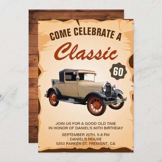 vintage car milestone birthday party invitation zazzle com