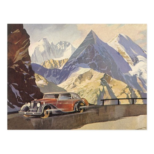 Vintage Car On Mountain Road In Winter With Snow Postcard