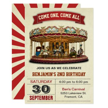Vintage Carousel Kids Birthday Party Invitation