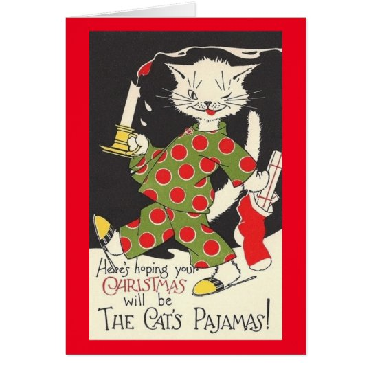 Vintage Cats Pajamas Christmas Card