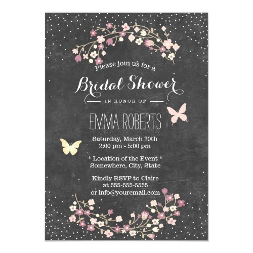 Vintage Chalkboard Butterfly Floral Bridal Shower Invitation