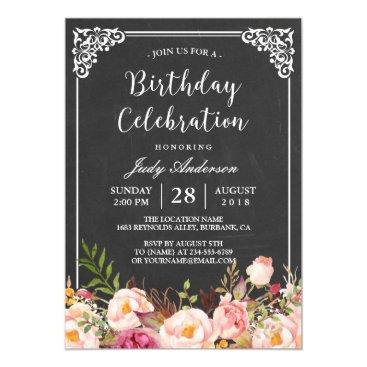 Vintage Chalkboard Floral Birthday Celebration Invitation