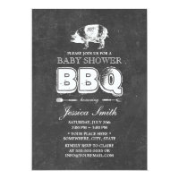 Vintage Chalkboard Pig Roast Baby Shower BBQ Party Card