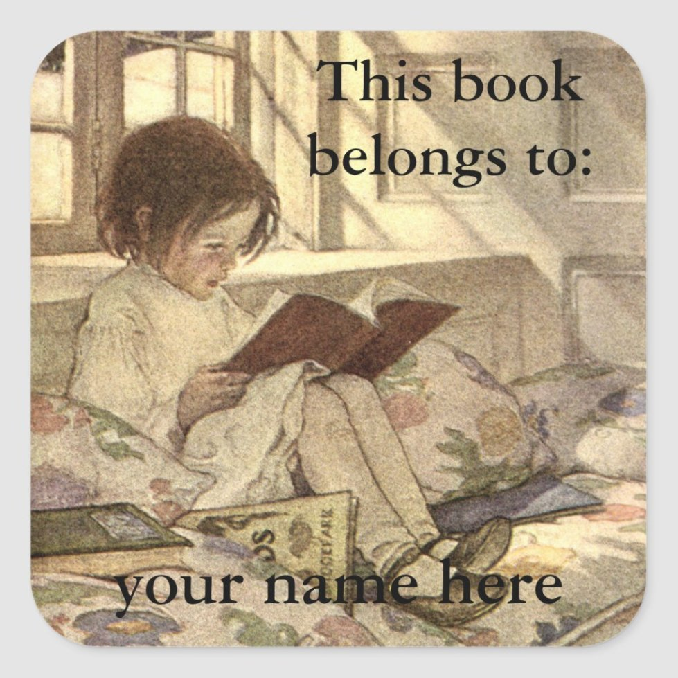 Vintage Child Reading a Book Bookplate