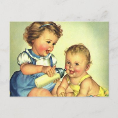 Vintage Children, Cute Happy Toddlers Smile Bottle Post Cards
