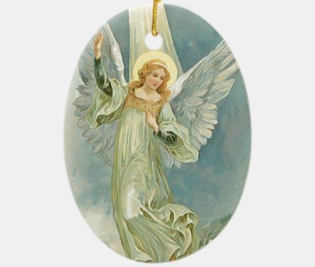 Christmas Angel Fine Art Double Sided Oval Ceramic Christmas Ornament