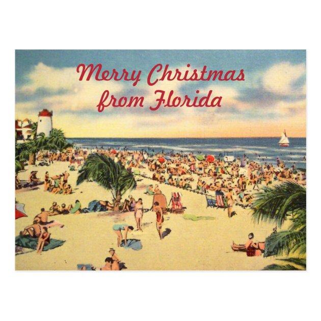 Vintage Christmas Florida Beach Greeting Postcard Zazzle