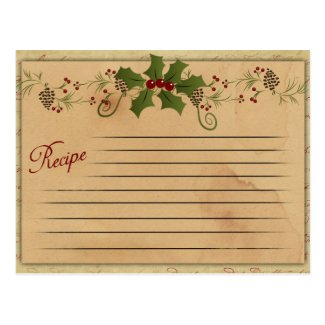 Vintage Christmas Recipe Card Post Cards