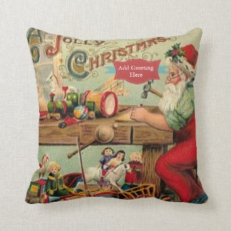 Vintage Christmas Retro Xmas Personalized Throw Pillow