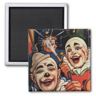 Vintage Circus Clowns, Silly Funny Humorous Fridge Magnet