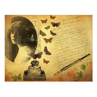 Vintage Collage Woman Writer and Butterflies Postcard