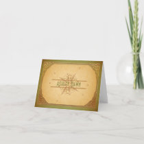 Vintage Compass Green Bat Mitzvah Thank You Card