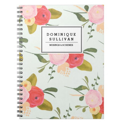 Vintage Country Roses Personalized Notebook