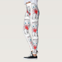 Vintage Cute Valentine's Day Cats, Retro Kitten Leggings