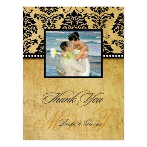 Vintage Damask Wedding Thank You Photo postcards, Postcard