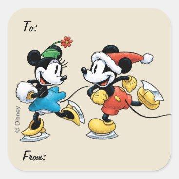 Vintage Disney | Mickey & Minnie Ice Skating Square Sticker