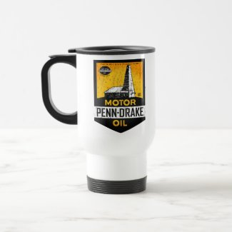 Vintage distressed Penn Drake Motor Oil sign mug