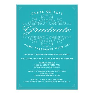 Vintage Elegance   Graduation Invitation