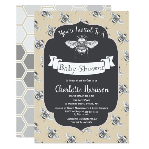 Vintage Elegant Bees Baby Shower Invitation