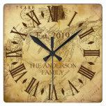Vintage Elegant Family Name Rustic Roman Numeral Square Wall Clock