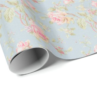 vintage elegant , light blue, pink, roses pattern gift wrap