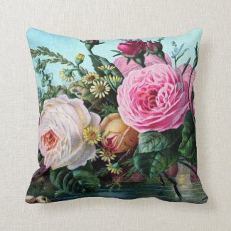 Vintage English Roses Floral Print Shabby Chic old Pillows
