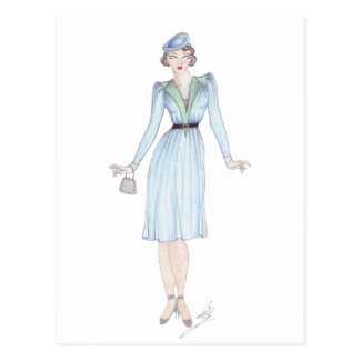 Vintage Fashion Illustration - 1940s day dress Post Cards