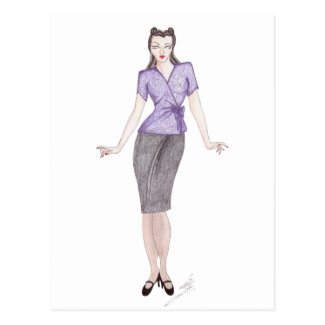 Vintage Fashion Illustration - 1940s daywear Postcards