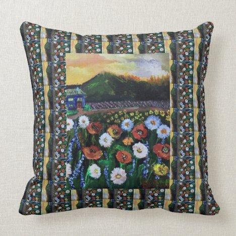 Vintage Fine Folk Art Field of Flowers Pattern