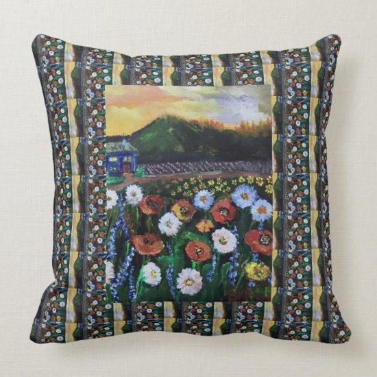 Vintage Fine Folk Art Field of Flowers Pattern Throw Pillow