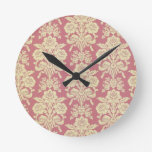 vintage,floral,coral,pink,rustic,damask,victorian, round wall clock