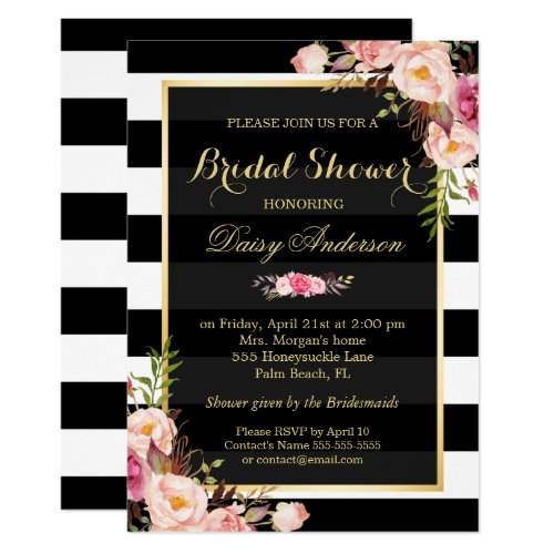 Vintage Floral Decor for Wedding Bridal Shower Invitation