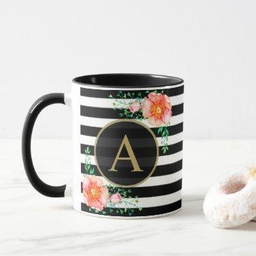 Vintage Floral Gold Monogram Black White Striped Mug