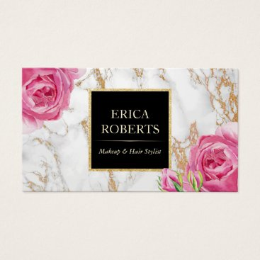 Vintage Floral Trendy Gold Marble Makeup Artist Business Card