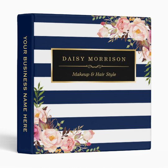 Vintage Floral Wrapping Gold Navy White Striped 3 Ring Binder Zazzle